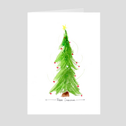 Merry Christmas Tree Medium Folded Cards