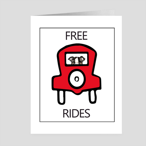 Free Rides with a Dog Greeting Cards by Suzanne Anderson