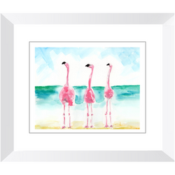 Flamingos Trio 1 Watercolor Framed Print by Suzanne Anderson