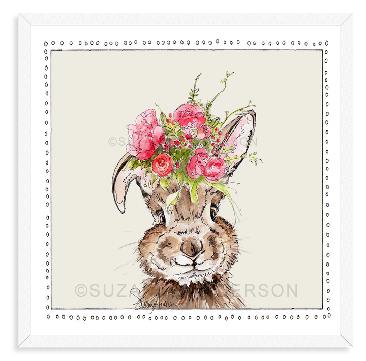 Funny Bunny Pink Flowers | Woodland Animals | Baby Girl Room | Nursery Art | Print By Suzanne Anderson