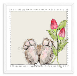 Bunny Feet Pink Tulips | Woodland Animals | Baby Girl Room | Nursery Art | Print By Suzanne Anderson
