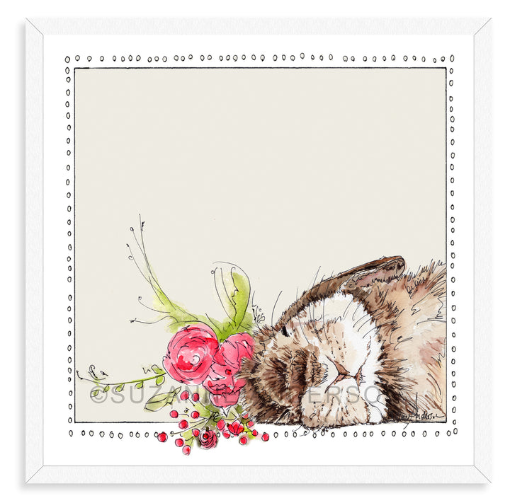 Sleeping Bunny Pink Flowers | Woodland Animals | Baby Girl Room | Nursery Art | Print By Suzanne Anderson