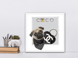 Pug | Fashion Art | Designer Bags | Girls Room Decor | Chanel Art | Art print by Suzanne Anderson