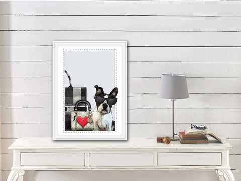 Boston Terrier | Fashion Art | Designer Bags | Girls Room Decor |  Dior Bags | Dog Art Print by Suzanne Anderson