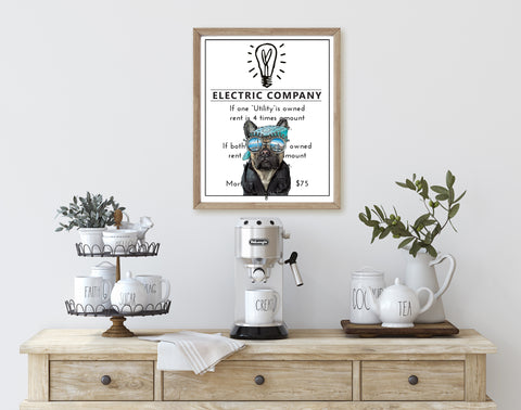 French Bull Dog (Frenchie) | Monopoly Art | Kids Room Decor | Fun Decor | Art Print By Suzanne Anderson
