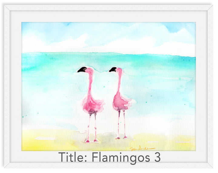 Flamingos 3 Individual Print | Beach Decor | Family Room Decor | Bedroom Decor | Coastal Decor | Watercolor Art by Suzanne Anderson