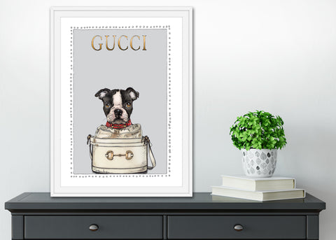 Boston Terrier Puppy | Fashion Art | Designer Bags | Girls Room Decor | Gucci Bags | Art Print by Suzanne Anderson