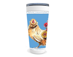 Chicken with flowers drink tumbler
