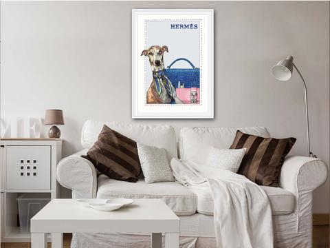 Greyhound | Fashion Art | Designer Bags | Girls Room Decor |  Hermes Bags | Art Print by Suzanne Anderson