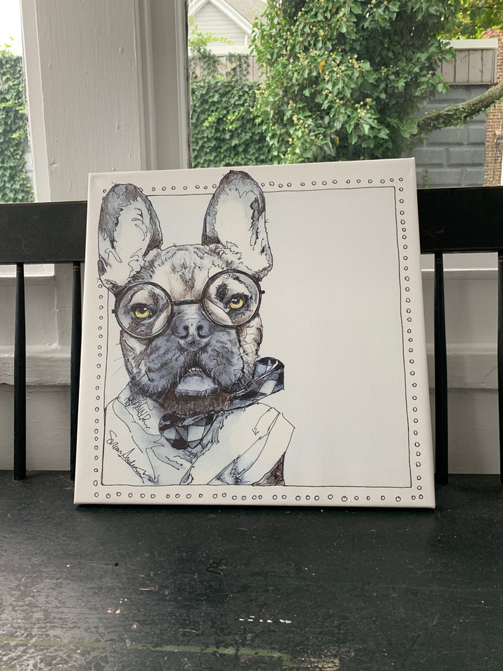 Wilbur Proper the French Bull Dog on Canvas by Suzanne Anderson
