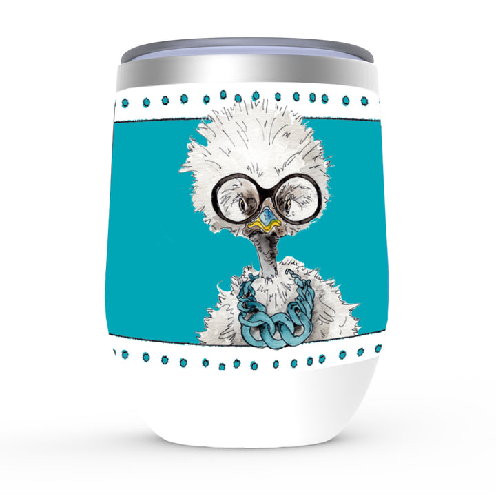 White Fluffy Chicken Stemless wine tumbler