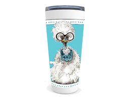 White Fluffy Chicken drink tumbler