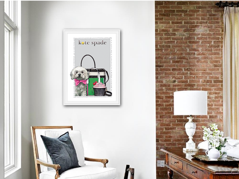 Maltese | Fashion Art | Designer Bags | Girls Room Decor | Kate Spade Bags | Art Print by Suzanne Anderson