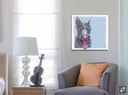 Lenny the Blue Scottie on Canvas by Suzanne Anderson