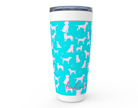 Lab mom for life with Lily Pulitzer Colors Pink and Turquoise drink tumbler