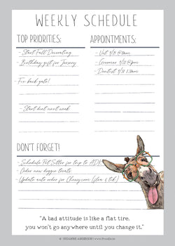 "Donkey & Bad Attitude Weekly Schedule 5""x7"" Printable 