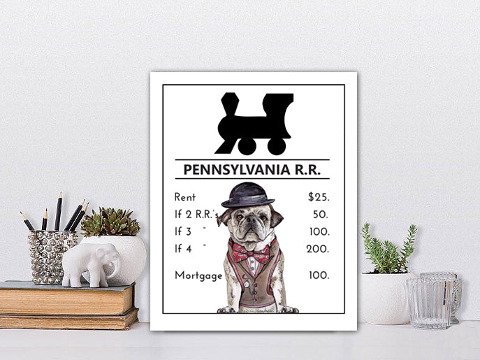 Pennsylvania Railroad | Monopoly Art | Kids Room Decor | Train Art |  Art Print By Suzanne Anderson