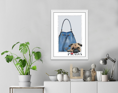 Pug | Fashion Art | Designer Bags | Girls Room Decor | Prada Bags | Art Print by Suzanne Anderson