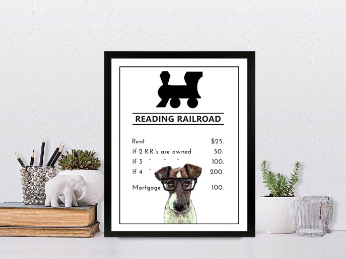 Reading Railroad  | Monopoly Art | Kids Room Decor | Train Art | Art Print By Suzanne Anderson