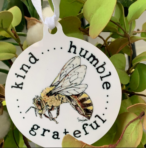 Beebop the Honeybee Metal Ornament by Suzanne Anderson