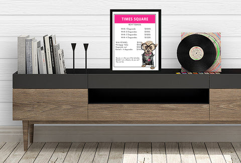 Yorkshire Terrier (Yorkie) | Monopoly Art | Kids Room Decor | Times Square | Art Print By Suzanne Anderson