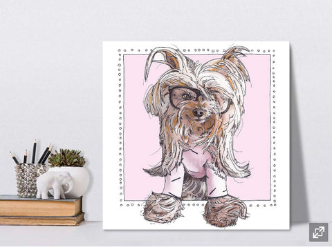 Willie Cute in Pink the Yorkie on Canvas by Suzanne Anderson