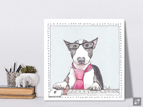 Winston the Bull Terrier on Canvas by Suzanne Anderson