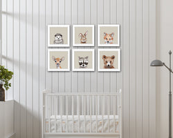 Printable Woodland Animals Nursery Set of 6 Prints | Nursery Decor | Woodland Nursery | PDF Instant Download
