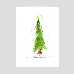 Merry Christmas Skinny Tree Folded Cards
