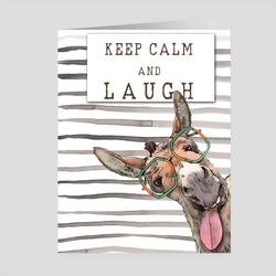 Keep Calm and Laugh with Dudley the Funny Donkey Greeting Card by Suzanne Anderson