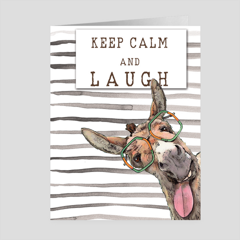 Keep Calm and Laugh with Dudley the Funny Donkey Folded Cards by Suzanne Anderson