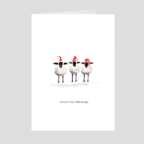 Count Your Blessings with the Sheep Holiday Greeting Card by Suzanne Anderson