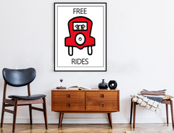 Free Rides | Monopoly Art | Kids Room Decor | Family Room Decor | Fun Decor | Red Car |Art Print By Suzanne Anderson