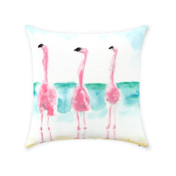 Flamingo-ol-o-gy Trio 1Throw Pillows with #thinkpink by Suzanne Anderson