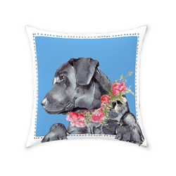 Flowers and Black Labs Throw Pillow