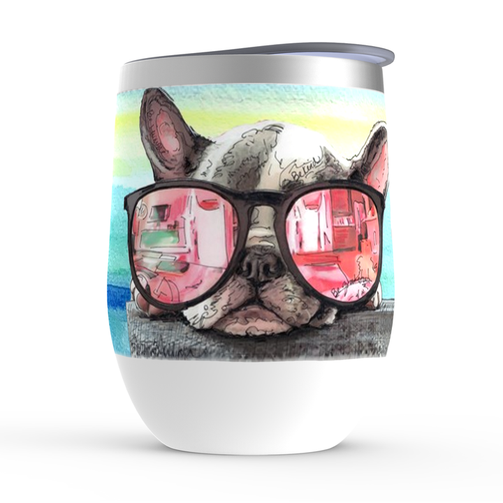 French Bull Dog wine tumbler