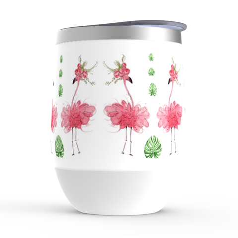 Pink Flamingo Wine Tumbler with Palm leaves