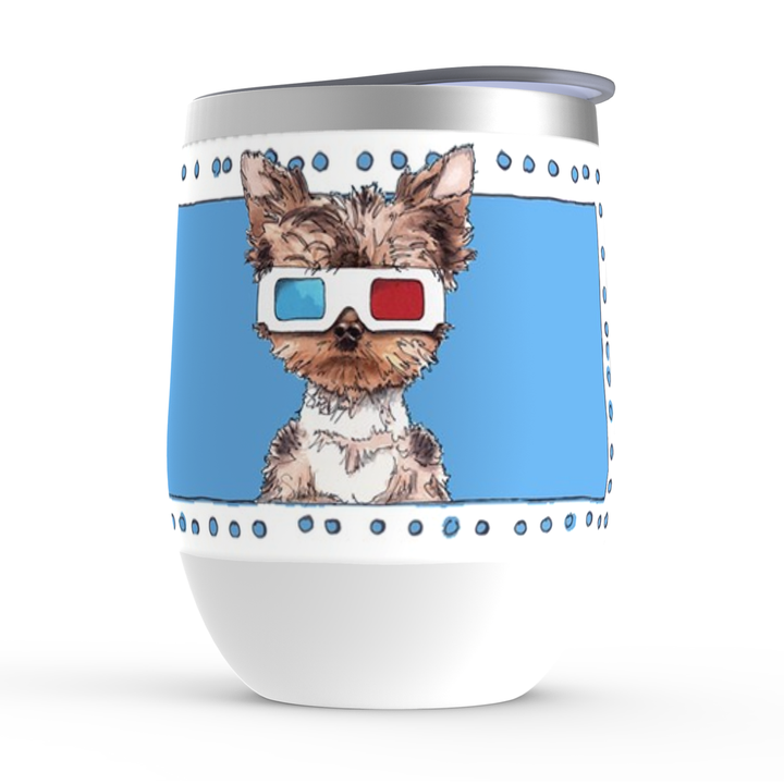 Yorkie with 3d glasses stemless wine tumbler