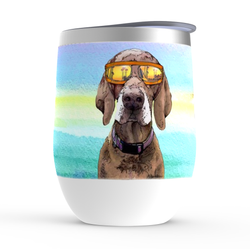 Pointer on a Rainbow stemless wine tumbler