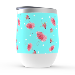 Pink Flamingo Wine Tumbler on Lily Pulitzer Aqua Blue