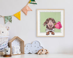Schmitt'S Rose Is A Dachshund Art Print By Artist Suzanne Anderson - Froodle Llc