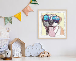 Sophie'S Smile is a Pittie Art Print By Artist Suzanne Anderson - Froodle LLC