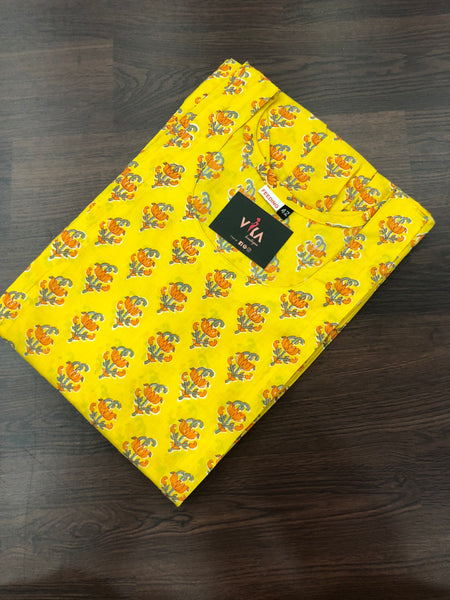 Yellow Printed Feeding kurti