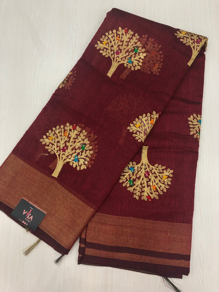 Tree Embroidered silk Cotton saree
