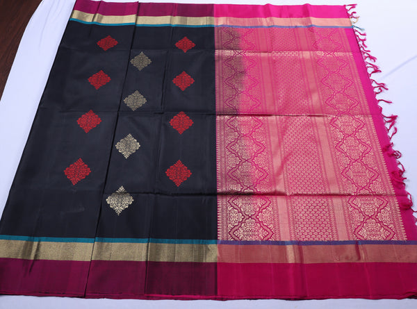 Black pink soft silk saree