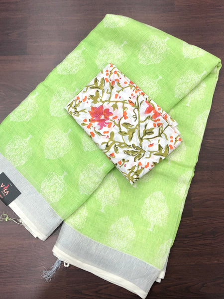 Tree printed Cotton Linen saree