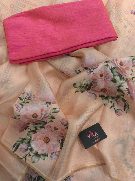 Peach Floral Printed soft jute Saree