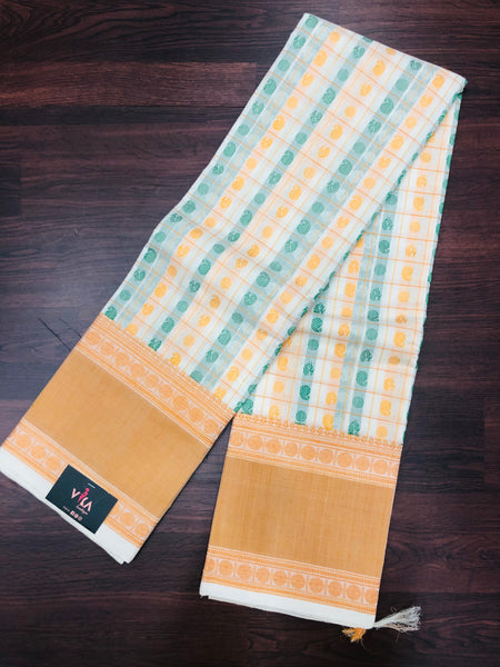 Off white sandal Chettinad cotton saree