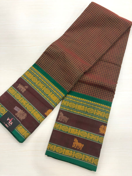 Shaded brown check Chettinad cotton saree