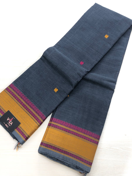 Deep grey Chettinad cotton saree